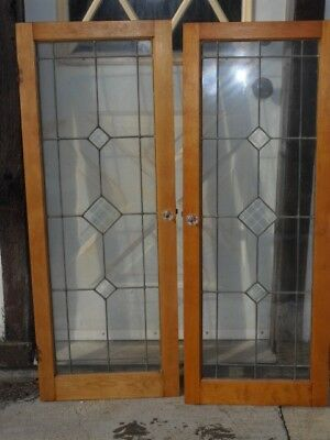 Sg 942 antique pair beveled glass leaded glass cabinet doors 36 in antique one pair beveled glass leaded cabinet doors 36 x 47 in glass knobs planetlyrics Images