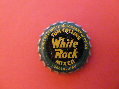 One vintage unused White Rock Tom Collins Mixer cork-lined soda bottle cap.