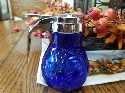 Cobalt Blue Inverted Thistle Pattern Syrup Dispenser Glass Lid Metal Retired