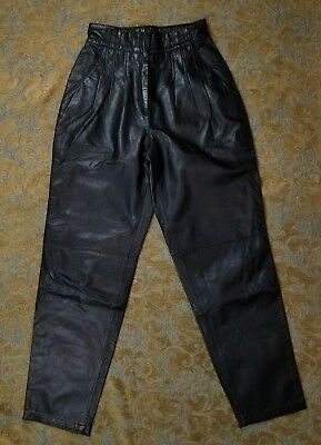 vtg 80s TOFFS Black Faux Paperbag High Waist Leather Pant 8 Tapered leg trouser