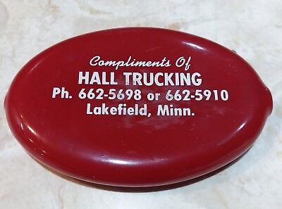 Vintage Squeeze Coin Purse HALL TRUCKING Lakefield Minn Mn