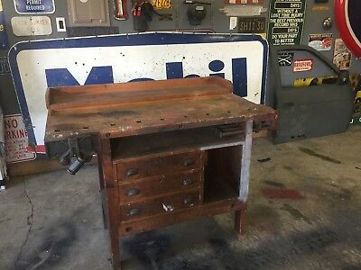 Vintage Industrial Woodworkers Workbench Table Desk w/ Two Vises- Make An Offer