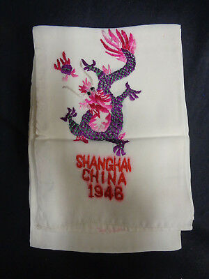 Shanghai China 1946 Post World War Ii Wwii Souvenir Silk Scarf Approximately 36""