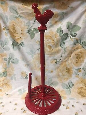 Vintage Chippy Red Rooster Cast Iron Paper Towel Holder Farmhouse Shabby