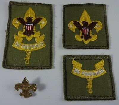 Lot of 3 Vintage Boy Scouts Rank Patches Badges 1911 Patent Scout Pin LOT