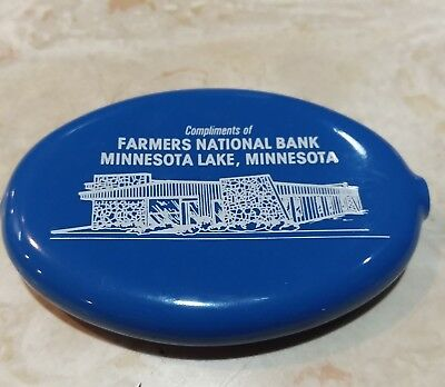 Vintage Squeeze Coin Purse from FARMERS NATIONAL BANK, Minnesota Lake Minnesota