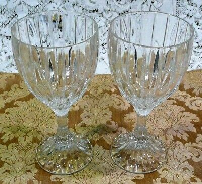 "Set of 2 Park Lane Mikasa Crystal Wine Goblet 6 3/8"" Vertical Design SN1010"