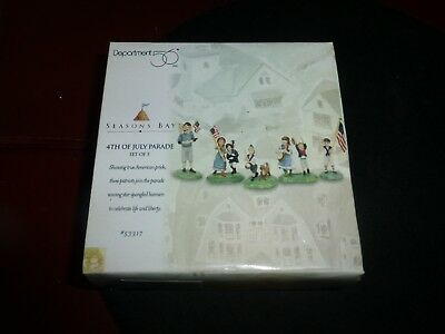 """1998 New """"department 56"""" """"seasons Bay"""" """"fourth Of July Parade"""" Set Of Five Pcs."""