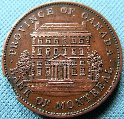 1842 Province of Canada Bank of Montreal One Penny Token - Neat Clip to Edge