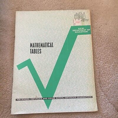 NSW DEPARTMENT OF Education  Mathematical Tables  40 Pages  Vintage