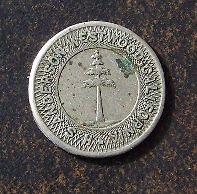 Westwood California / H.s. Anderson / Tree Pictorial  / Antique Trade Token