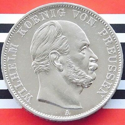 GERMAN THALER 1871 A PRUSSIA WILHELM I 90% Silver Victory France WWI Coin +RARE+