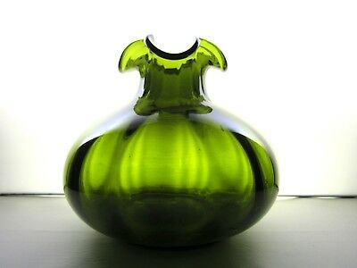 Green mouth blown glass pendant light fixture vianne made in gorgeous mouth blown avocado green glass melon vase ruffled top pontil aloadofball Choice Image