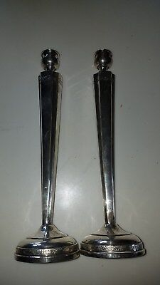 Pair Vintage Sterling Silver Art Deco Candlesticks11 1/2Inches Tall