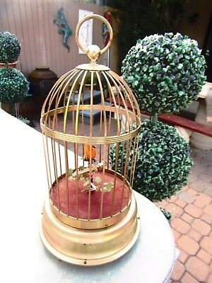 Antique Mechanical Singing Bird in Cage  Made In Germany