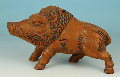 Rare Chinese boxwood Collection Handmade Carved boar pig Statue