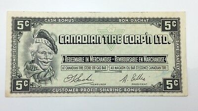 1961 Canadian Tire 5 Five Cents CTC-S1-B-H Circulated Money Banknote E120