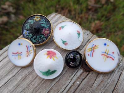 6 Mix of Antique VTG Glass Hand painted  BUTTONS from Germany Sewing Crafts Sew