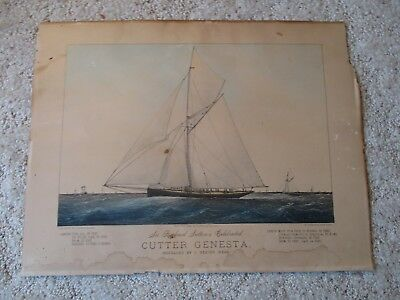 Original Currier and Ives lithograph - Cutter Genesta small folio dated 1885
