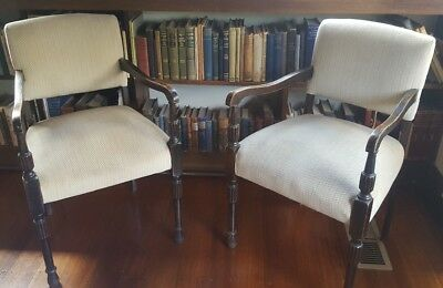 Vintage Velvet Cushioned Turned Timber Chairs x 2