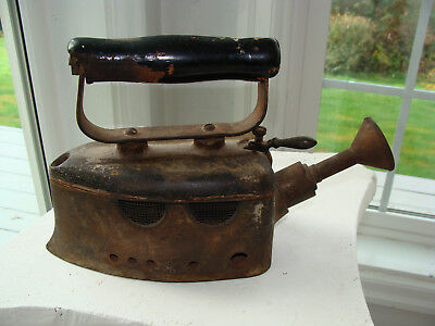 Antique Coal Fired Clothes Iron with odd adjustable Steamer Nozzle very heavy