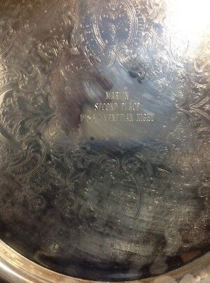 """Oneida USA 12"""" Round Vintage Silverplate Serving Tray Etched Center Memorabilia"""