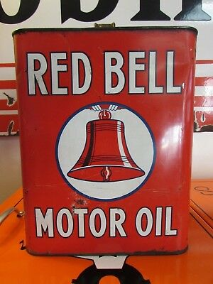 Vintage Red Bell Motor Oil Can * 2 Gallons