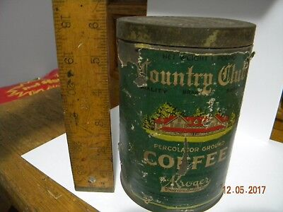 Vintage 1930's ? Country Club Kroger Percolator Ground Coffee Can