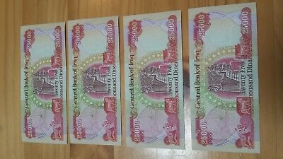 25000 iraq dinar note uncircalated,4 notes