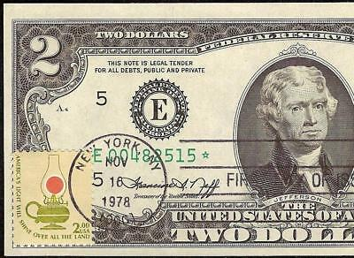 Unc Star 1976 $2 Bill W Two Dollar Stamp First Day Of Issue Note Frn Paper Money