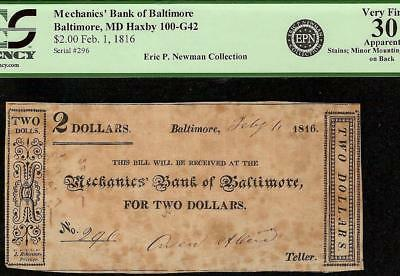 1816 $2 Dollar Bill Mechanics Bank Baltimore Maryland Note Epn Currency Pcgs 30