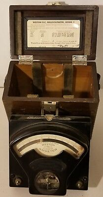 Vintage Weston -D.C.Millivoltmeter Model 1, Nice Wood Box,1958 -UN-Tested -READ