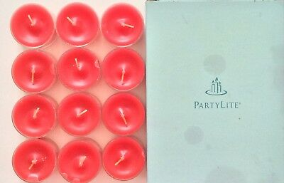 PartyLite Universal Tealight Scarlet Blossoms Rose 12 RARE! New in Box