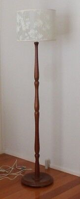 VINTAGE RETRO used TIMBER FLOOR LAMP Base FREE Shade GOOD WORKING ORDER