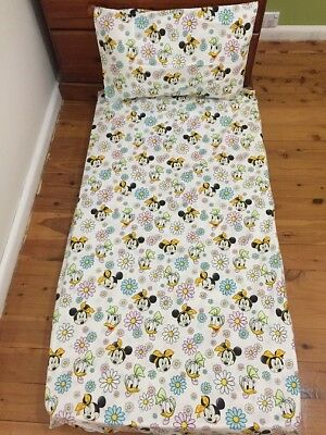 New White Minnie Mouse Daisy Duck Baby Cot Fitted Sheet + Pillowcase