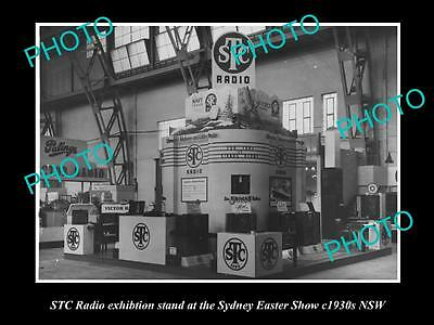OLD LARGE HISTORIC PHOTO OF STC RADIO SHOW DISPLAY STAND, c1930s SYDNEY NSW