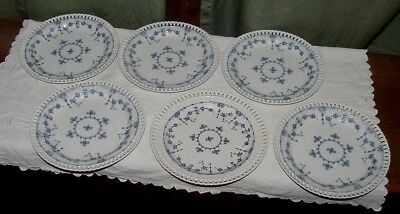 (6) Minton Danish Reticulated Quilted Stone Porcelain China Plates ca.1850-1900