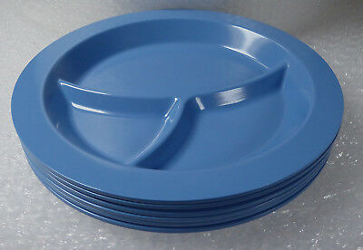 6 Blue Pottery Barn Kids Melamine Melmac Plastic Divided 3 Section Plates Dishes