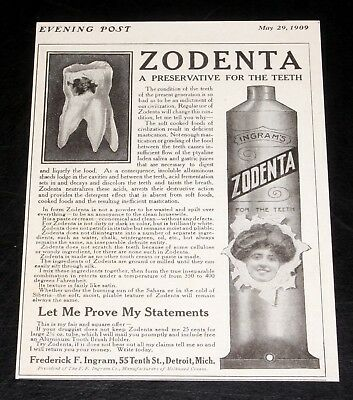 1909 Old Magazine Print Ad, Ingrams Zodenta Paste, A Preservative For The Teeth!
