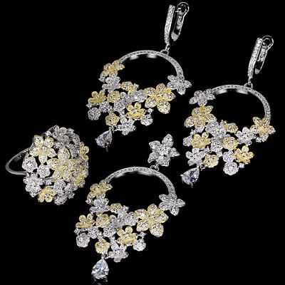 Twinkling Aaa White Cubic Zirconia Pear & Round Sterling 925 Silver Flower Set