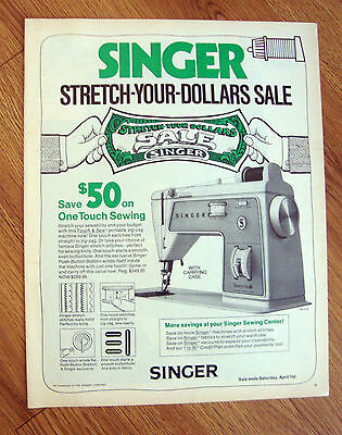 1972 Singer Sewing Machine Ad Touch & Sew