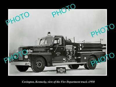 OLD LARGE HISTORIC PHOTO OF COVINGTON KENTUCKY FIRE DEPARTMENT TRUCK c1950