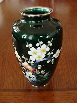 Japan Cloisonne Vase Emerald Green With Cherry Blossom & Bamboo