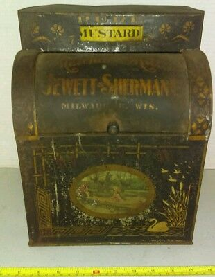 Vintage Jewett & Sherman Milwaukee Wisconsin Mustard Spice Tin Store Display