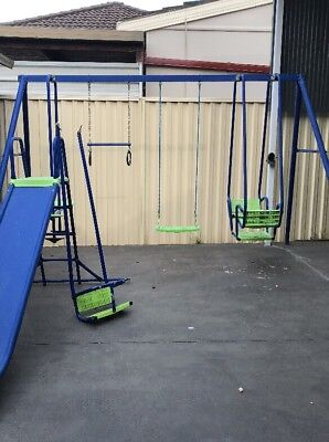 Used Hills Playtime Swing set - 4 Bay with slide (Blue & Green)