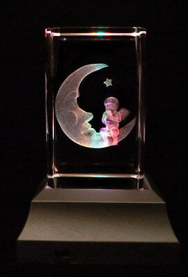 Angel on Moon Collectable Laser Inscribe Crystal LED Night Light Gift FRY05