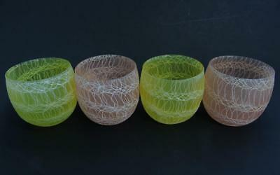 Four Vintage Mid Century Mod Spaghetti String Textured Glass Roly Poly Tumblers