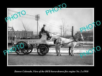 OLD LARGE HISTORIC PHOTO OF DENVER COLORADO, THE No2 FIRE DEPARTMENT WAGON c1910