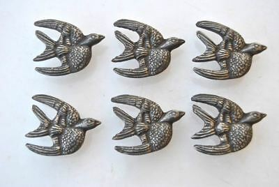 Vintage cast iron flying EAGLE cabinet drawer door knobs handles pull rustic 6pc