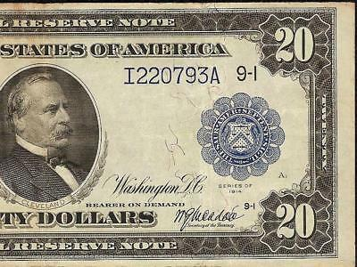 Large 1914 $20 Dollar Bill Federal Reserve Note Currency Paper Money Crisp Vf